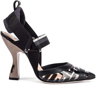 Fendi Logo Slingback Heels in Black | FWRD