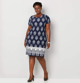 Avenue Medallion Print Border Sheath Dress