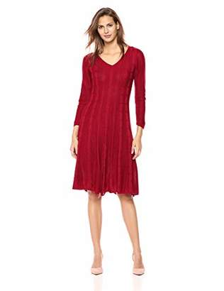 Nine West Women's V-Neck Fit & Flare Cable Knit Dress