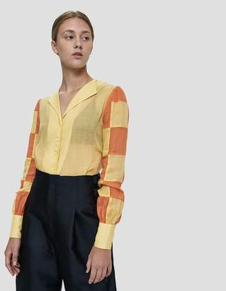 Maryam Nassir Zadeh Balance Checkered Sleeve Top