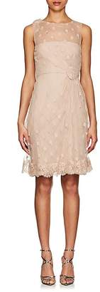 Valentino WOMEN'S FLORAL-EMBROIDERED TULLE DRESS