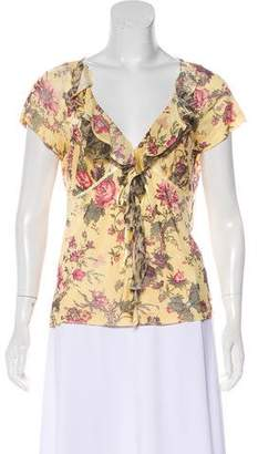 Just Cavalli Ruffled Floral Top