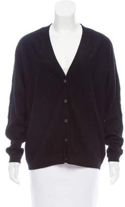 TSE Leather-Trimmed Cashmere Cardigan
