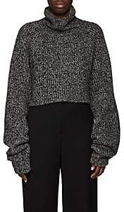 The Row Women's Dickie Cashmere Crop Turtleneck Sweater-Grey