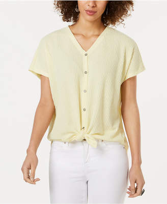 Style&Co. Style & Co Textured Tie-Hem Shirt