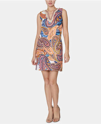 Laundry by Shelli Segal Paisley-Print Fringed Shift Dress