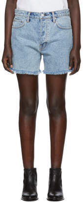 Helmut Lang Blue Denim Boy Fit Cut-Off Shorts