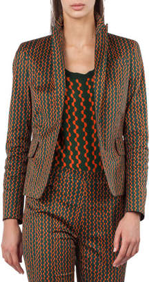 Akris Punto Single-Button Semicircle Stripe-Print Blazer