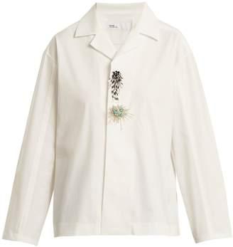 Toga Notch-lapel bead-embellished jersey shirt