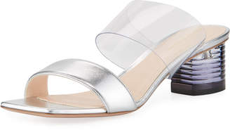 Nicholas Kirkwood Peggy Metallic Leather & PVC Two-Strap Mules