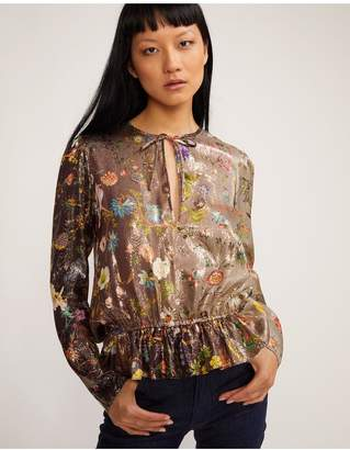 Cynthia Rowley Blair Printed Silk Blouse