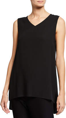 Eileen Fisher V-Neck Georgette Crepe High-Low Tank