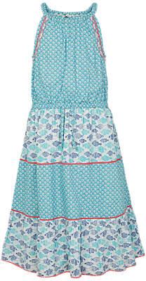 Fat Face Girls' Edith Fish Dress, Teal