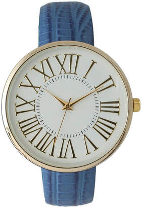 OLIVIA PRATT Olivia Pratt Womens Gold-Tone White Dial Blue Croc-Embossed Leather Strap Watch 14328