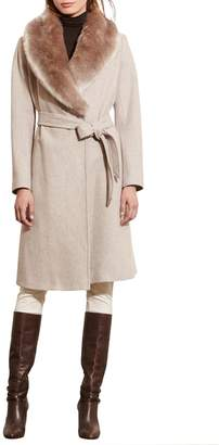 Lauren Ralph Lauren Wool Blend Coat with Faux Fur Collar