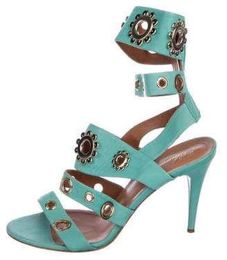 Blumarine Leather Grommet-Embellished Sandals