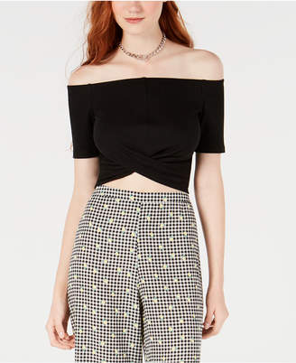 Material Girl Juniors' Off-The-Shoulder Twist-Back Crop Top