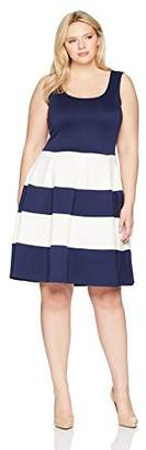Chetta B Plus Size Womens Sleeveless Color Blocked Scuba Fit and Flare Dress
