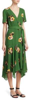 A.L.C. Cora Short-Sleeve Floral Silk Wrap Dress