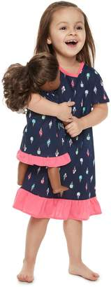Toddler Girl Jammies For Your Families Ice Cream Cone Nightgown & Doll Gown Set