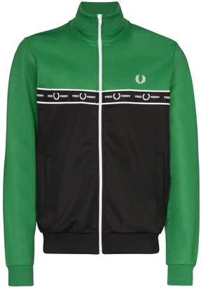 Fred Perry logo-tape colour-block track jacket