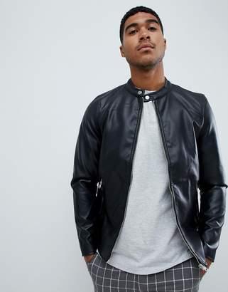 Pull&Bear biker jacket in black