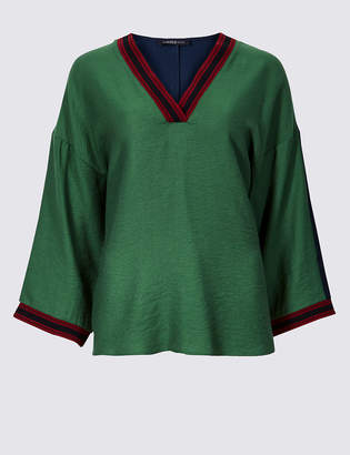 Limited Edition Textured V-Neck Long Sleeve Blouse