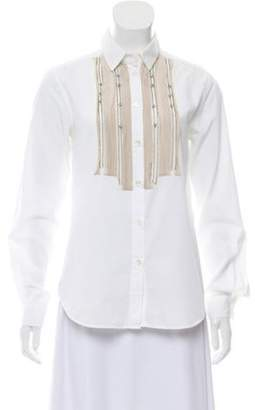 Etro Jewel-Accented Button-Up Blouse White Jewel-Accented Button-Up Blouse