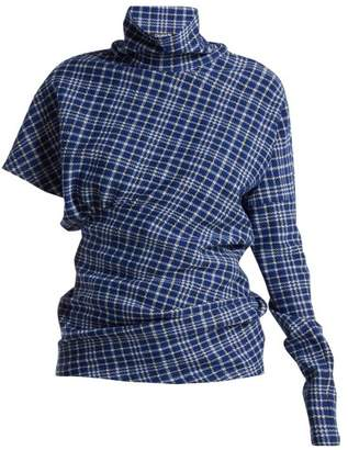 Calvin Klein Asymmetric Checked High Neck Top - Womens - Blue Multi