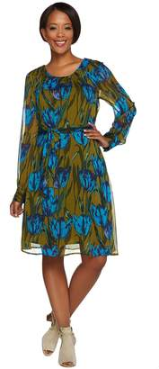 Isaac Mizrahi Live! Tulip Floral Chiffon Dress with Tie Belt