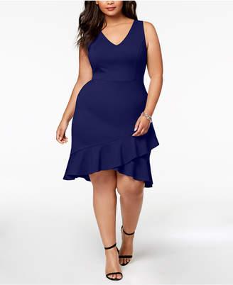 Soprano Trendy Plus Size Ruffle-Hem Dress