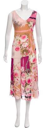 Blumarine Floral Print Sleeveless Dress