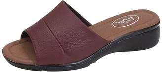 24 Hour Comfort Stacy Women Extra Wide Width Slide Faux Leather Upper Open-Toe Sandal 6