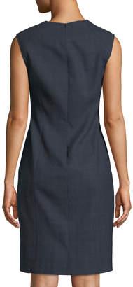 d8e63c3a4134a7 Elie Tahari Galiena Zip-Front Sleeveless Tonal Plaid Sheath Dress
