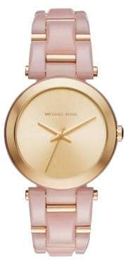 Michael Kors Delray Acetate and Goldtone Stainless Steel Bracelet Watch