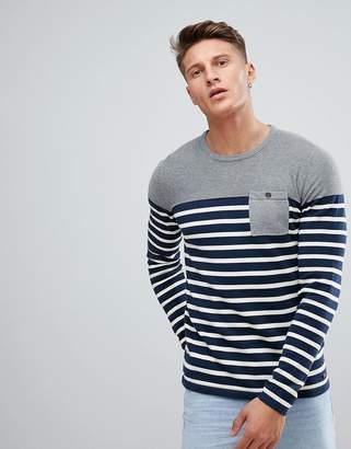 Esprit Stripe Sweater With Gray Panel