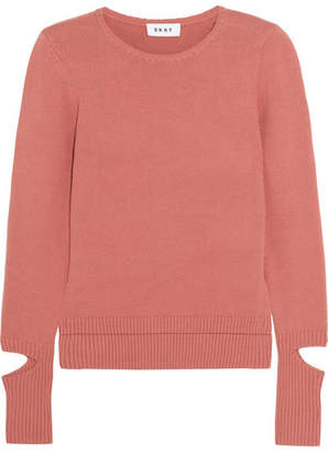 DKNY Cutout Cotton-blend Sweater - Brick