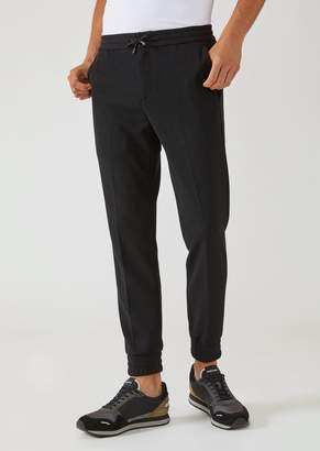 Emporio Armani Jogging Trousers In Full Milano Stitch With Elastic Cuffs