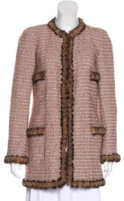 Chanel Mink Fur-Trimmed Tweed Coat