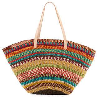 Flora Bella Pensacola Multicolor Woven Abacá Beach Tote Bag