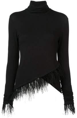Josie Natori feather trim asymmetric knit top