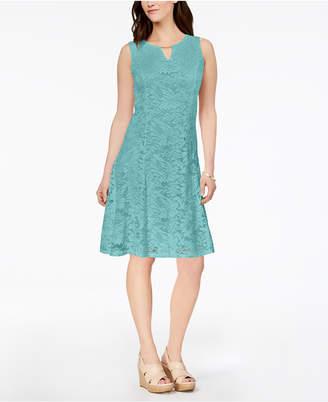 JM Collection Floral-Lace A-Line Dress