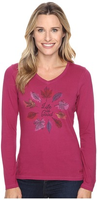 Life is good Circle Leaf Long Sleeve Crusher Vee $30 thestylecure.com
