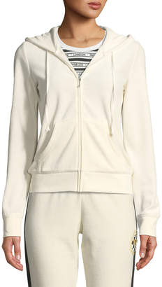 Juicy Couture Robertson Velour Crystal Logo Hooded Jacket