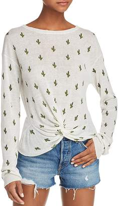 Aqua Cactus Print Twist-Front Sweater - 100% Exclusive
