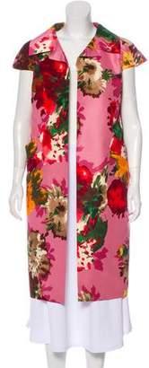 Oscar de la Renta Silk Floral Coat