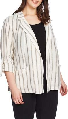 1 STATE 1.STATE Cabana Stripe Roll Sleeve Jacket