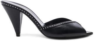 Saint Laurent Era Crystal Trim Peep Toe Leather Mules