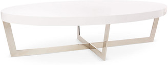 One Kings Lane Oyster Oval Coffee Table - White/Steel
