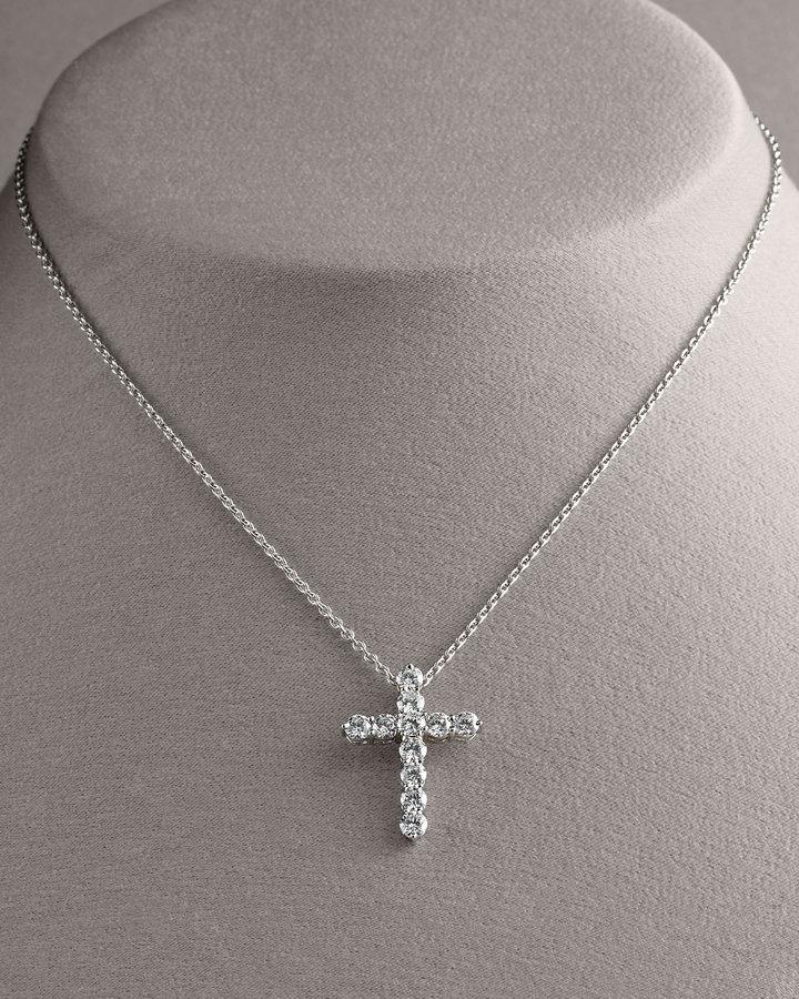 Roberto Coin Diamond Cross Pendant Necklace, Large